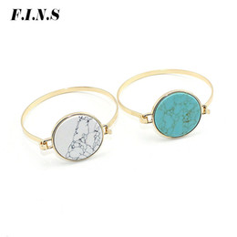 92a564efddc F.I.N.S Gold Color Round Marble Stone Bangles Bracelets Simple Boho Blue  White Geometric Stone Bangle Indian Jewelry Open Cuff