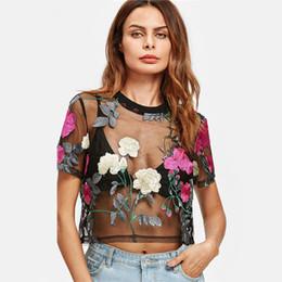 9846e615702e Sexy Women Sheer Mesh Top Retro Flower Embroidered Short Sleeve Blouse Tops  Green Rose See-through Cropped Top Feminino 2018