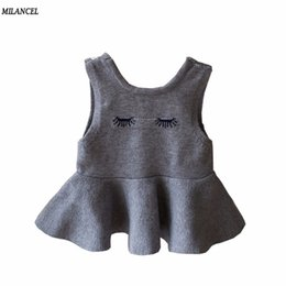 $enCountryForm.capitalKeyWord NZ - Milancel 2017 Baby Girls Dress Solid Knitted Dress for Girls Winter Kids Clothes Sleeveless Toddler O-neck Ruffles Dress