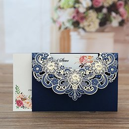 Shop laser cut shower invitations uk laser cut shower invitations navy blue laser cut flora lace invitation cards with blank inner sheets and envelopes for wedding invitations bridal shower engagement bi filmwisefo