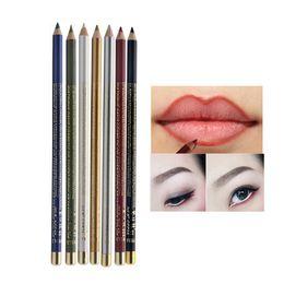 $enCountryForm.capitalKeyWord NZ - 1 Pcs Waterprood Makeup Eyeliner + Lip Liner 2 in 1 Eye Pencil White Silver Eyeliner Glitter Marker Long Lasting M03438