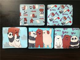 Cartoon Id Holder NZ - Cartoon Series We Bare Bears Men Wallet Faux Leather Zipper Coin Purse Unisex Wallets ID Credit Card Holder