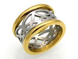 $enCountryForm.capitalKeyWord UK - Europe and the United States fashion explosion models hot new mesh shape geometry diamond double color hollow titanium steel ring