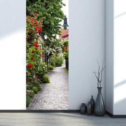 $enCountryForm.capitalKeyWord UK - 2Pcs Set The Medieval Town Of Roses Imitation 3D Wooden Doors Refurbished Self-adhesive Decoration Wall Sticker