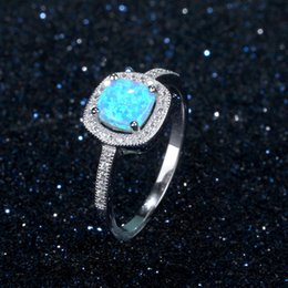 square bezel NZ - Pop White Rhodium Plated Genuine 925 Sterling Silver Blue Fire Opal Ring Square Design Young Lady Jewelry