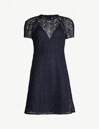 c33817bdb22 2018 Französisch Blau Reine Farbe Kurzen Ärmeln Crewneck Spitze Dame  Einteilige Kleider Frauen Kleid MBL916 Ma   e Herbst Herbst