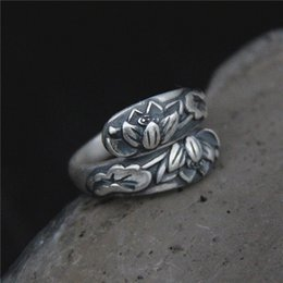 $enCountryForm.capitalKeyWord Canada - 2018 Sale New Anel Feminino Leaf Ring Restoring Ancient Ways Is Female National Wind Handmade Embossed Lotus Thai S990 Fine
