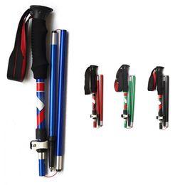 Red Handle Grips Australia - 3-Section Ultra-light EVA Handle Foldable Canes Aluminum alloy Walking Sticks Alpenstock For Outdoor