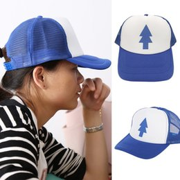 6ddd3e0990c13 Unisex Women Men Cap Curved Bill BLUE PINE TREE Dipper Gravity Falls  Cartoon Mesh Hat