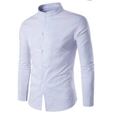 long sleeved chinese collared shirts UK - Hot popular men's shirts bestseller Chinese style men's linen solid color casual breathable Tang suit long-sleeved shirt wholesale sales