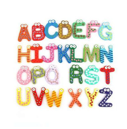 26 sticker UK - Wooden Fridge Magnet 26 Alphabet Intelligence Development Toy Kids Children Magnetic Sticker Classroom Office Whiteboard Gadget