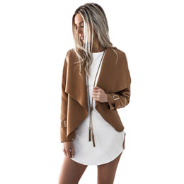 Discount sexy down coats - Autumn Winter Casual Jackets Ladies Long Sleeve Turn-down Collar Basic Motorcycle Jacket Women Sexy Coats Tops Outwear c