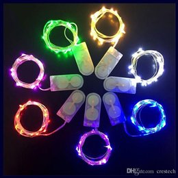 Holiday Gifts Free Shipping NZ - Free shipping via DHL CR2032 button cell operated Xmas gift party holiday decoration LED 2M 20leds copper wire fairy string