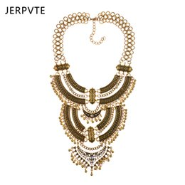 Chinese  JERPVTE Bohemian Power Necklace Collar Choker Gold Necklace Vintage Gypsy Ethnic Statement Maxi Jewelry For Women 2018 manufacturers