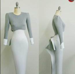 $enCountryForm.capitalKeyWord NZ - Evening dress Long Dress O-Neck Dazzing Long Sleeve Trousers Customable All Sizes Cool Sexy Dazzling Soulderess B