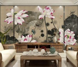 $enCountryForm.capitalKeyWord NZ - Custom 3d Photo Wallpaper Murals Hand-painted Lotus Classical Chinese Style Wall Decorative Painting for Living Room Meeting Room Wall