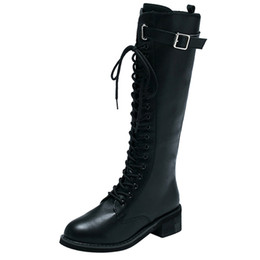 ddb8a79d5d9a6 Large Size Women Leather Zipper Square Heel High Boots Over The Knee Shoes  Martin Boots Hot Sale