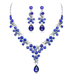 costume jewelry pendant necklaces UK - Red Blue White Crystal Water drop Pendant Necklace earrings Jewelry set Women'S Suit Party Costume Wedding Jewelry Christmas Gift