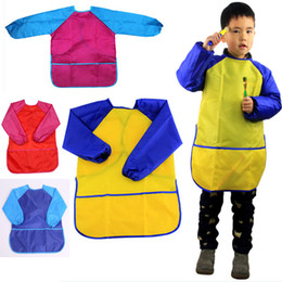 Discount long sleeve bibs for babies - Children Aprons Bib Clothes New Kids Waterproof Paint Aprons Baby Eating Meal Painting Long Sleeve Smock Suitable for 5-