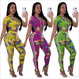 $enCountryForm.capitalKeyWord Canada - 2018 summer Hooded women 's Tracksuits print outfits Sweatshirts short sleeve top and long Pants 2 Pieces Set Lady Sportwear casual pla