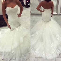 wedding dresses sweetheart mermaid china NZ - Vestido De Casamento Custom made DHgate china White Mermaid Wedding dresses Plus size Lace Appliques Crystal Beading Bridal Wedding gowns
