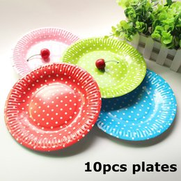 Discount disposable plate for birthday party - 10pcs Disposable Paper Plates Valentine Birthday Wedding Party Tableware Paper Plates For Baby Shower Decor