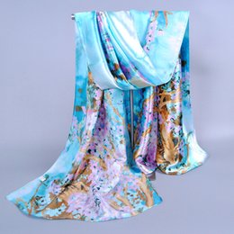 Chinese pashmina sCarves online shopping - New Chinese style printed silk satin scarf Hot sale plum female scarf Scarves
