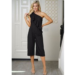 082b913f7a9 Women Black Chiffon Jumpsuit Fashion One Shoulder Capris Wide Leg Summer  Ruffles Casual Club Overalls W960031