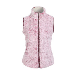 China Womens Sleeveless Pink Vest Winter Warm Outwear Casual Faux Fur Zip Up Sherpa Jacket Women's Vests M-2XL cheap faux jackets suppliers