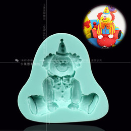 baby cake moulds 2019 - Wholesale- Fondant for clown sugar cake mould baby mould circus fondant cake decorating tool silicone cheap baby cake mo