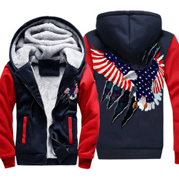 Discount american flying jackets - Flying Lightning American Flag Eagle Printing Thick Men's Winter Jackets