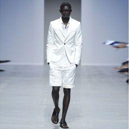 bc8627576c1 White Slim Fit Linen Men Suits Summer Wedding Groom Tuxedos 2 Pieces with Short  Pants Bridegroom Suits Best Man Blazer