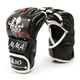 Half Finger Boxing Glove UK - 1Pair Man Women Half Finger Fight Boxing Gloves Mitts Sanda Karate Sandbag Protector for Boxeo MMA Muay Thai Kick Boxing Gear