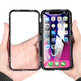 Iphone Glasses Red Australia - Magnetic Adsorption Built-in Magnet Ultra Slim Metal +Tempered Glass Back Panel Phone Case Flip Cover For iPhone XS Max XR X 8 7 6 6S Plus