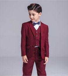 $enCountryForm.capitalKeyWord Canada - Two Buttons High quality Crimson Kid Complete Designer Handsome Boy Wedding Suit Boys' Attire Custom-made (Jacket+Pants+Tie+Vest) A A