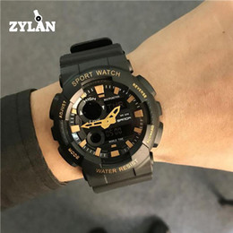 Wholesale ZYLAN Fashion Cool Dual Time LED Sport Digital Analog acklight Waterproof Wrist Watch Wristwatches for Men Boy