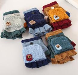 venda por atacado Inverno das crianças dos desenhos animados luvas quentes crianças meninas meninos bebê crianças tricô luvas Patchwork Mittens várias cores