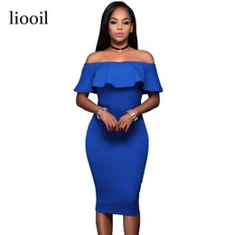 f18906216f5 Wholesale- Liooil 2017 Summer Royal Blue Off The Shoulder Midi Bodycon  Dress Sexy Ruffles Strapless African Women Celebrity Party Dresses