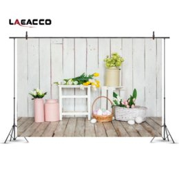 vinyl photography backdrops spring 2018 - Laeacco Spring Flowers Easter Eggs Wood Planks Photo Backgrounds Customized Vinyl Digital Photography Backdrops For Phot