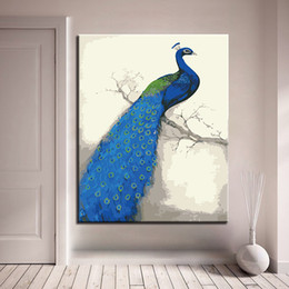 DIY Painting By Numbers Kits Drawing Blue Peacock Oil Picture Hand Paint Coloring Animal On Canvas Home Decor Wall Art Framework