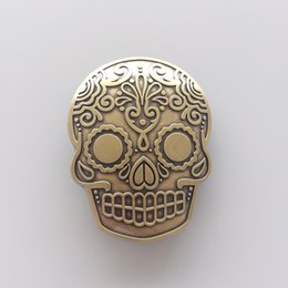 New Vintage Bronze Plated Tattoo Skull Belt Buckle Gurtelschnalle Boucle de  ceinture cheap women skull tattoos d5fbb8d45af