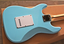 Cheap quality guitars online shopping - Top Quality cheap price GYST light sky blue color white plate maple fingerboard nice ST Electric Guitar Be Customized