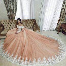 $enCountryForm.capitalKeyWord NZ - Spring 2019 Stunning Blush Pink Wedding Dresses Off Shoulder Short Sleeves Big A Line Pretty Lace Embellished Wedding Gowns Plus Size