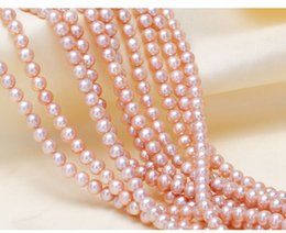 Discount pink freshwater cultured pearl necklace - LUSTROUS AAA+ CREAM Pink Pearl 5-6MM Cultured freshwater Pearl BEADS FOR BRACELET NECKLACE DIY JEWELRY MAKING