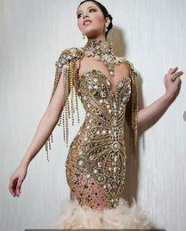 $enCountryForm.capitalKeyWord NZ - Evening dress Labourjoisie Long Dress Short Sleeve Beaded Feather High Collar Gold Sheath Zuhair murad Kim kardashianewelueigrLBkiioulderoqe