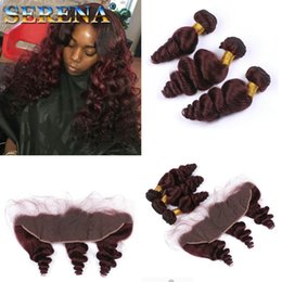 Loose wave red braziLian online shopping - Loose Wave J Wine Red Brazilian Human Hair Weaves with Lace Ear to Ear Closure Virgin Burgundy Hair Bundles with x4 Frontal