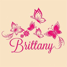 Discount custom names stickers - Butterfly Wall Stickers for kids room decor Personalized Custom Name wall decals removable wallpaper