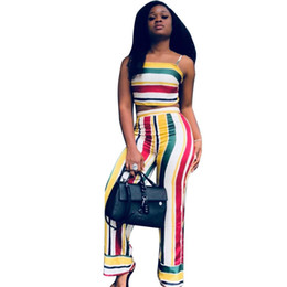 a3e0e98500b Matching Crop Top and Pants Set Sexy Bow Tie Back Striped Wide Leg Pants  Club Party 2 Piece Outfits Women Summer 2 Two Piece Set