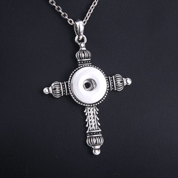 $enCountryForm.capitalKeyWord NZ - Fashion Snap Jewelry cross 18mm Snap Button Necklace with 60cm Chains DIY Pendant Necklace for Women Necklaces