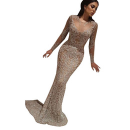 Discount ladies party wear gowns sleeves - 2019 Dubai Women Champagne Evening Dresses Sequined Bling Sparkle Mermaid Sheer Neck Sweep Train Long Sleeve Prom Gowns